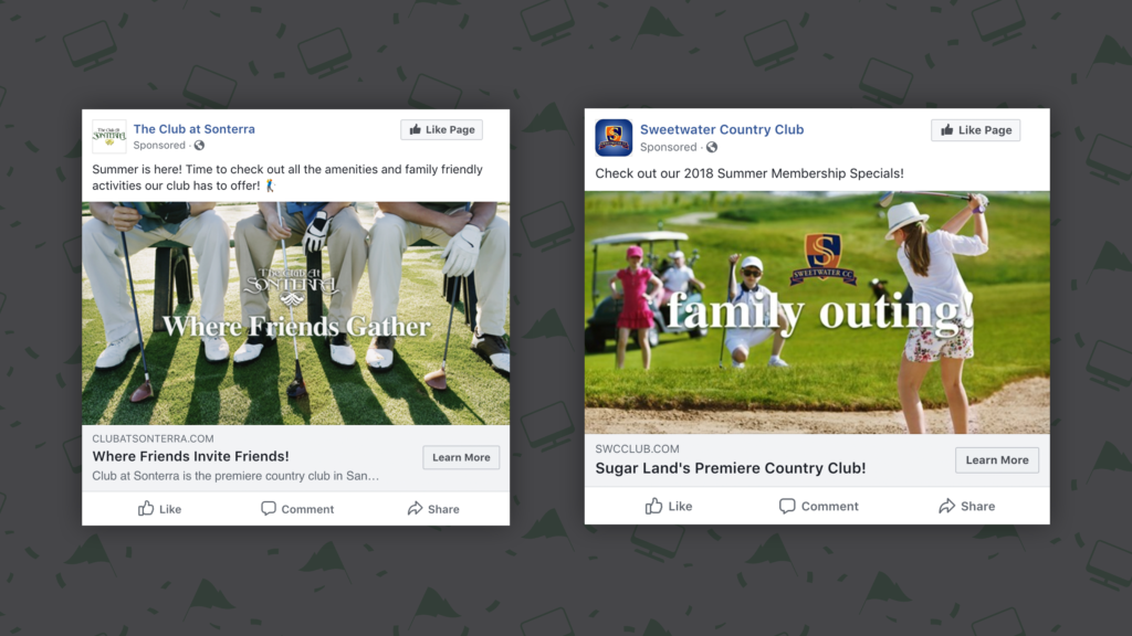 Ad Previews for Country Club Marketing with Facebook Ads