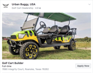 Post a Job to Facebook for Your Golf Course - Example Facebook Job